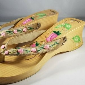 Woodies Shoes - Woodies Sandals Pink Flowers Floral Shoes 10